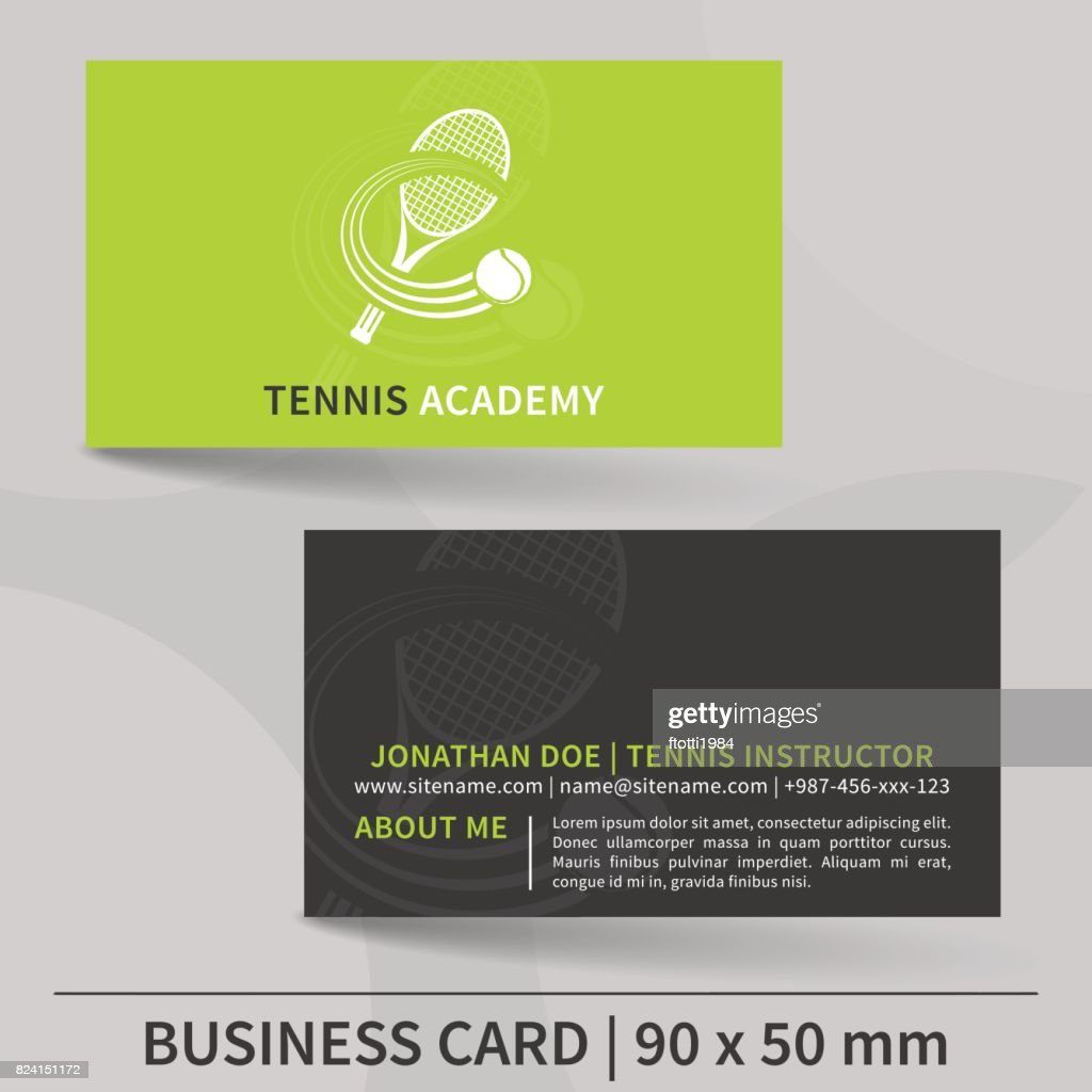 Business card template for tennis instructor vector design vector business card template for tennis instructor vector design vector art reheart Choice Image