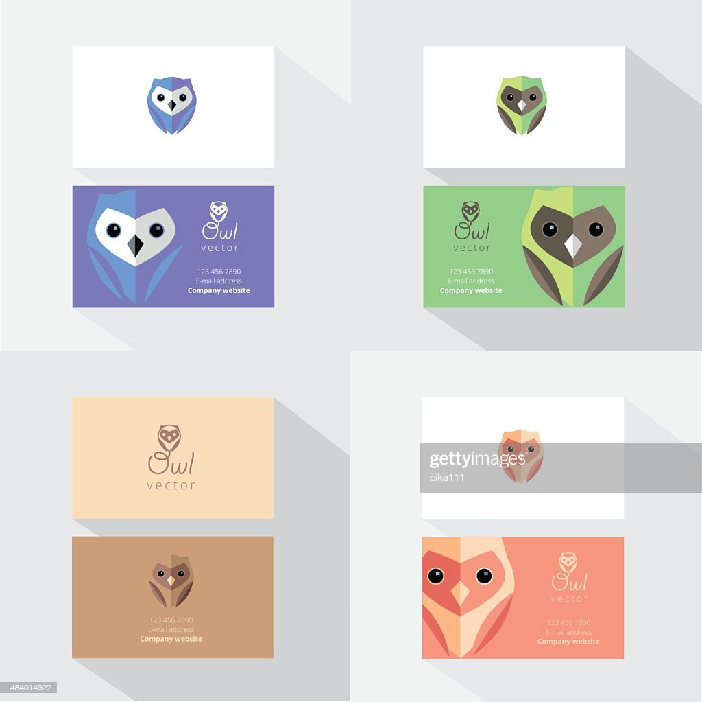 Business card template mockups with flat design owl design elements business card template mockups with flat design owl design elements vector art cheaphphosting Images