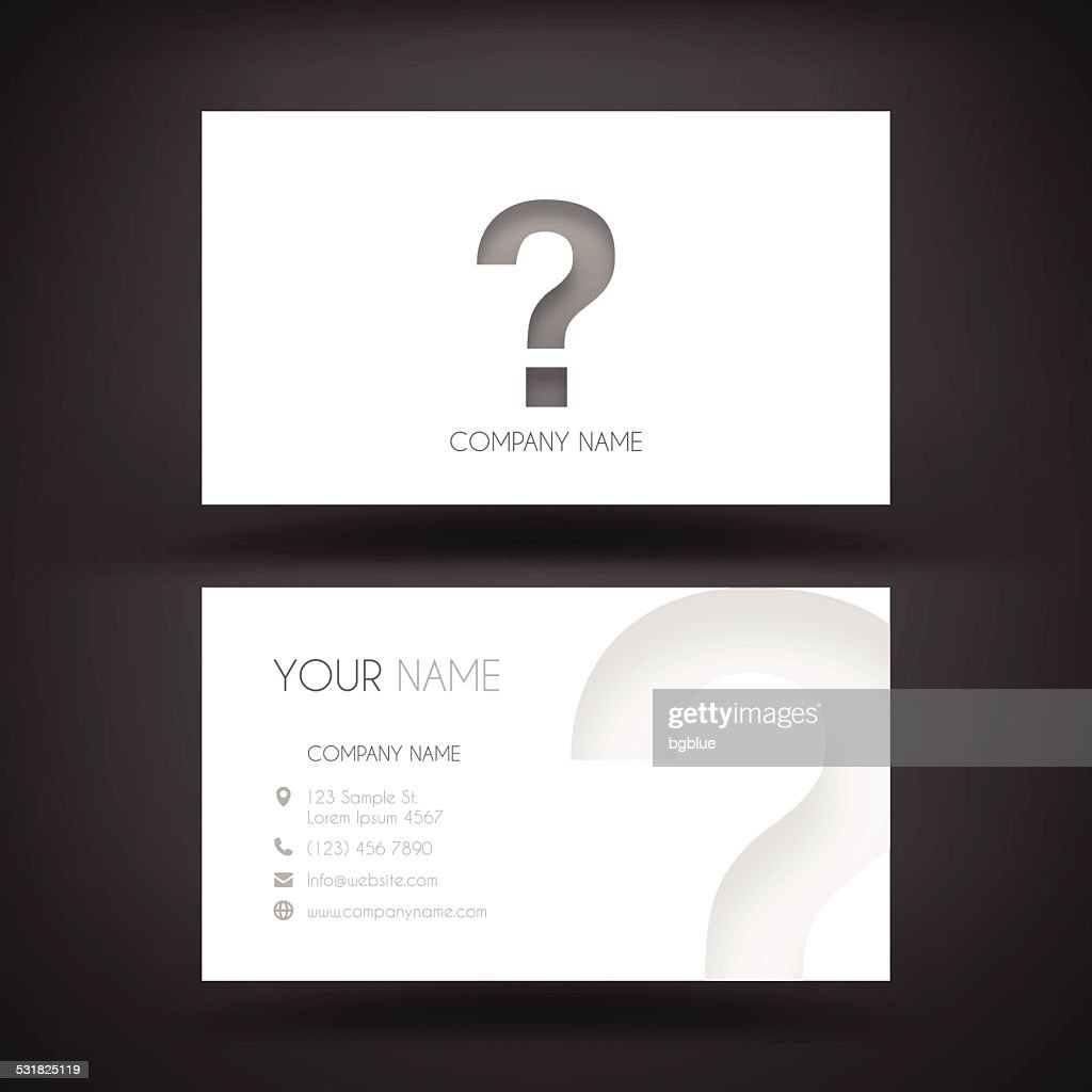 business card template question mark vector art getty images