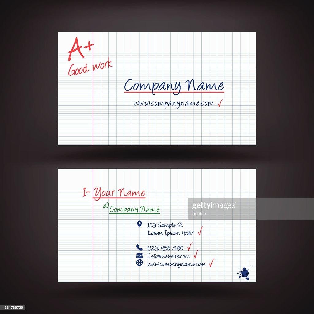 Business Card Template Resembling A Student Work Vector Art ...