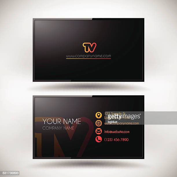 business card template shaped lcd tv screen - wide screen stock illustrations