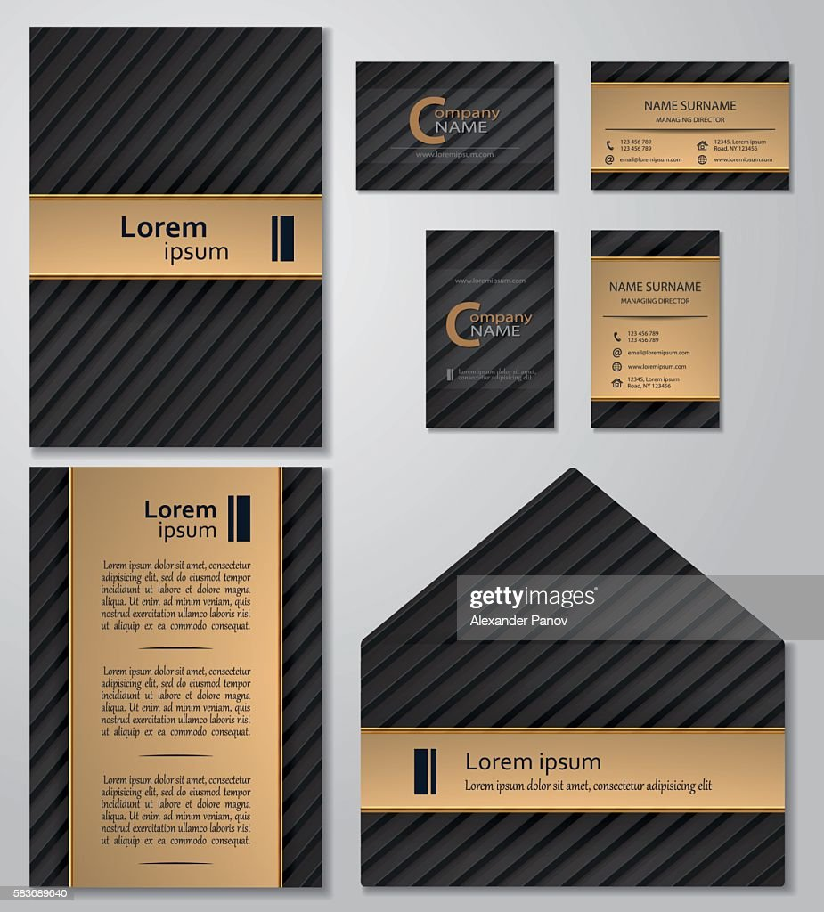 Business card template Vcard set black and gold style