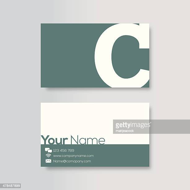 business card template - letter c stock illustrations, clip art, cartoons, & icons