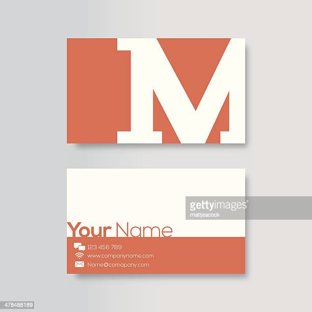 business card template - letter m stock illustrations, clip art, cartoons, & icons