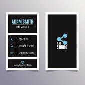 Business card template - vertical modern clean black design
