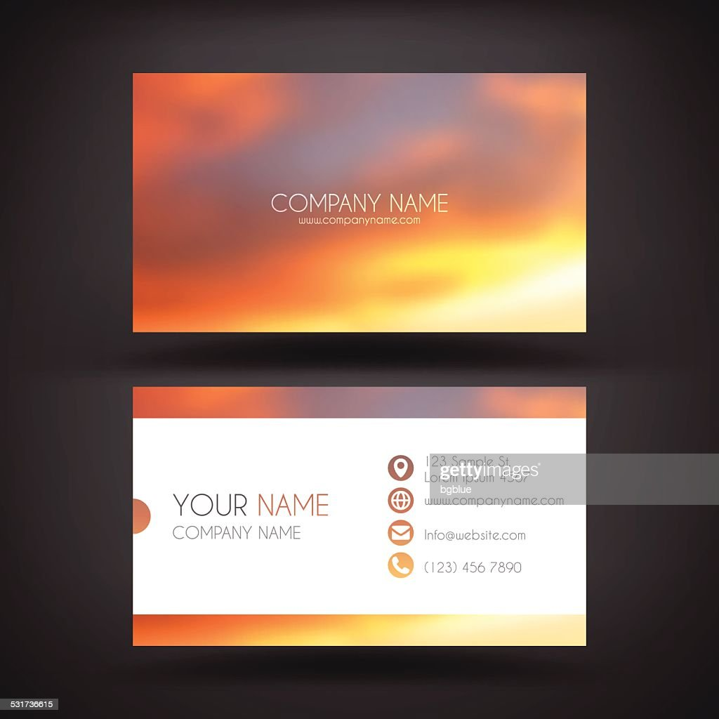 Business Card Template with a Beautiful Sky
