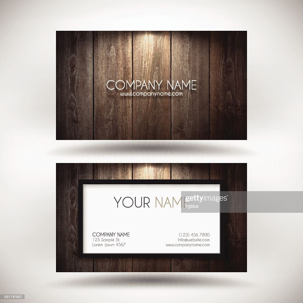 Business Card Template with a Wooden Background