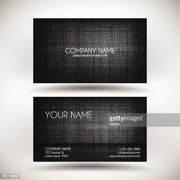 Business Card Template with Black Canvas Texture