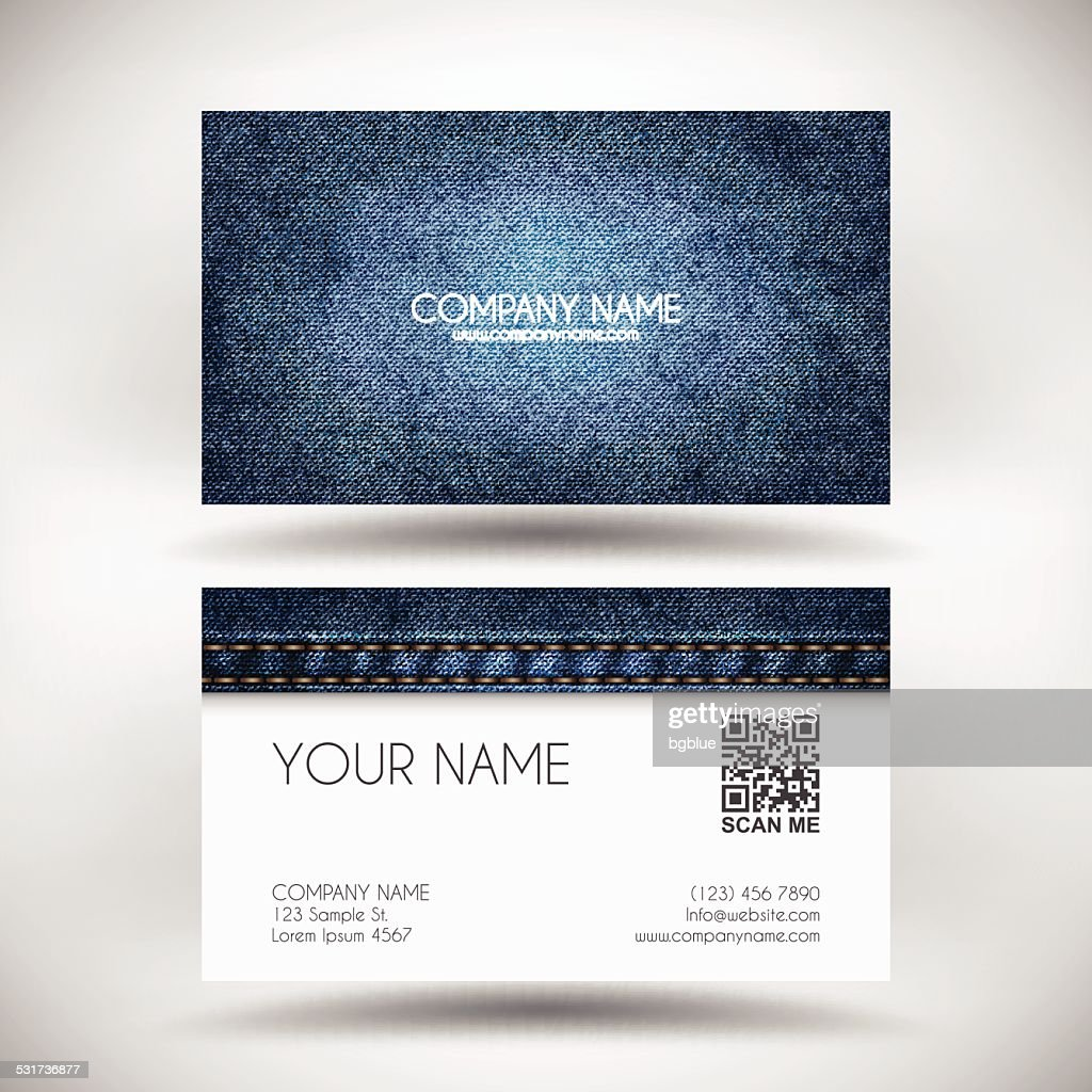 Business Card Template with Blue Denim Texture