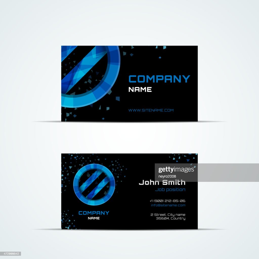 Business card template with blue sign