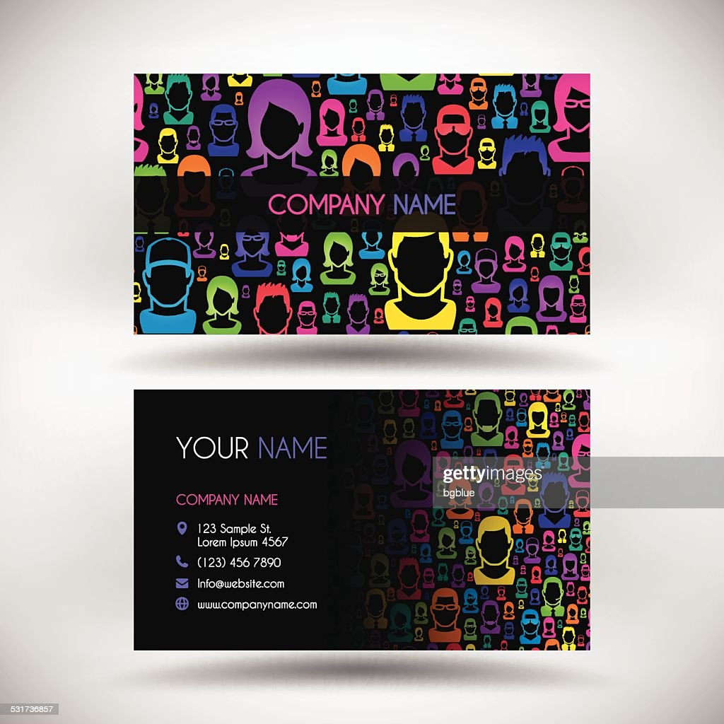 business card template with color people on black background vector
