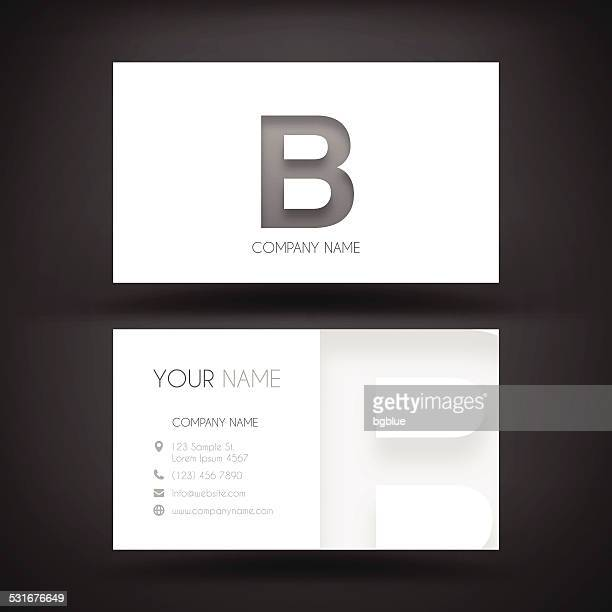 "business card template - with letter ""b"" - letter b stock illustrations"