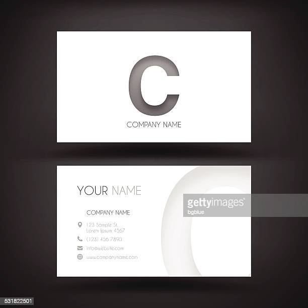 business card template with letter c