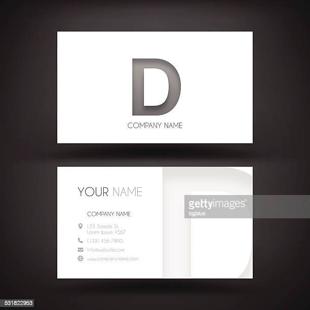 "business card template - with letter ""d"" - letter d stock illustrations, clip art, cartoons, & icons"