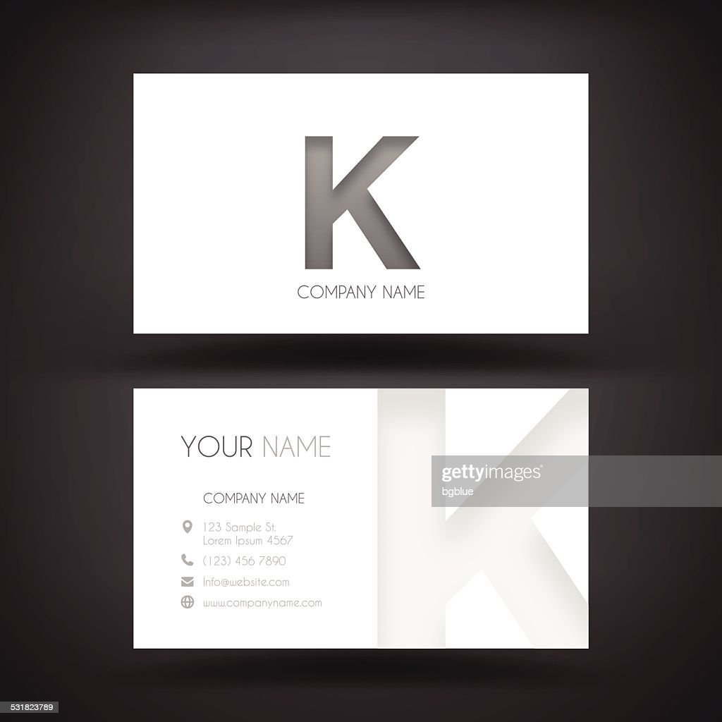 business card template with letter k vector art