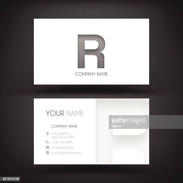 """business card template - with letter """"r"""" - letter r stock illustrations"""