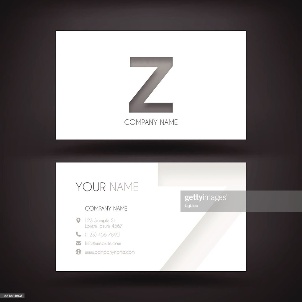 Business Card Template With Letter Z Vector Art Getty Images