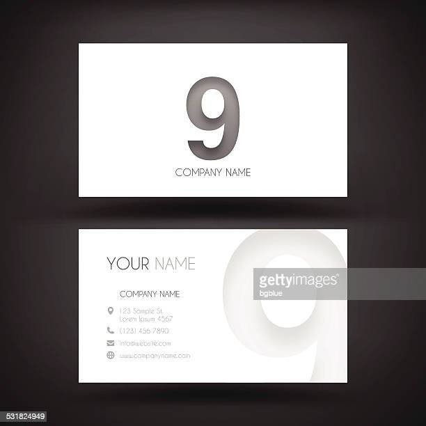 """Business Card Template - with number Nine """"9"""""""
