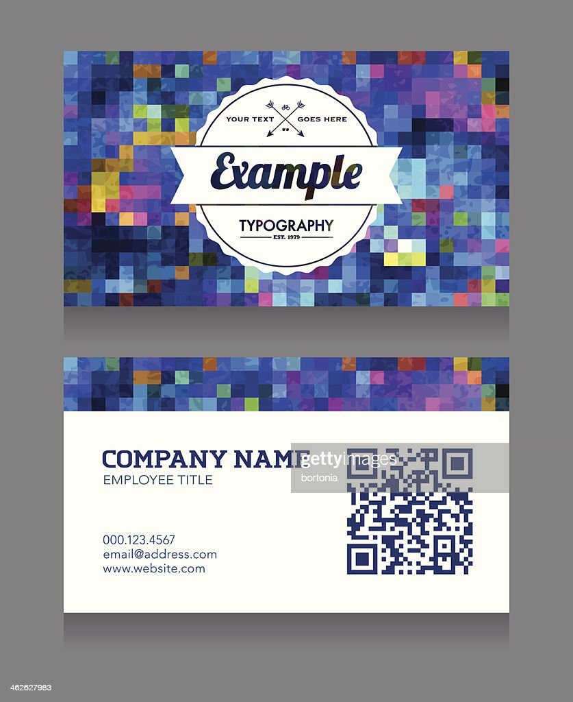 Business Card Template With Qr Code Stock Illustration