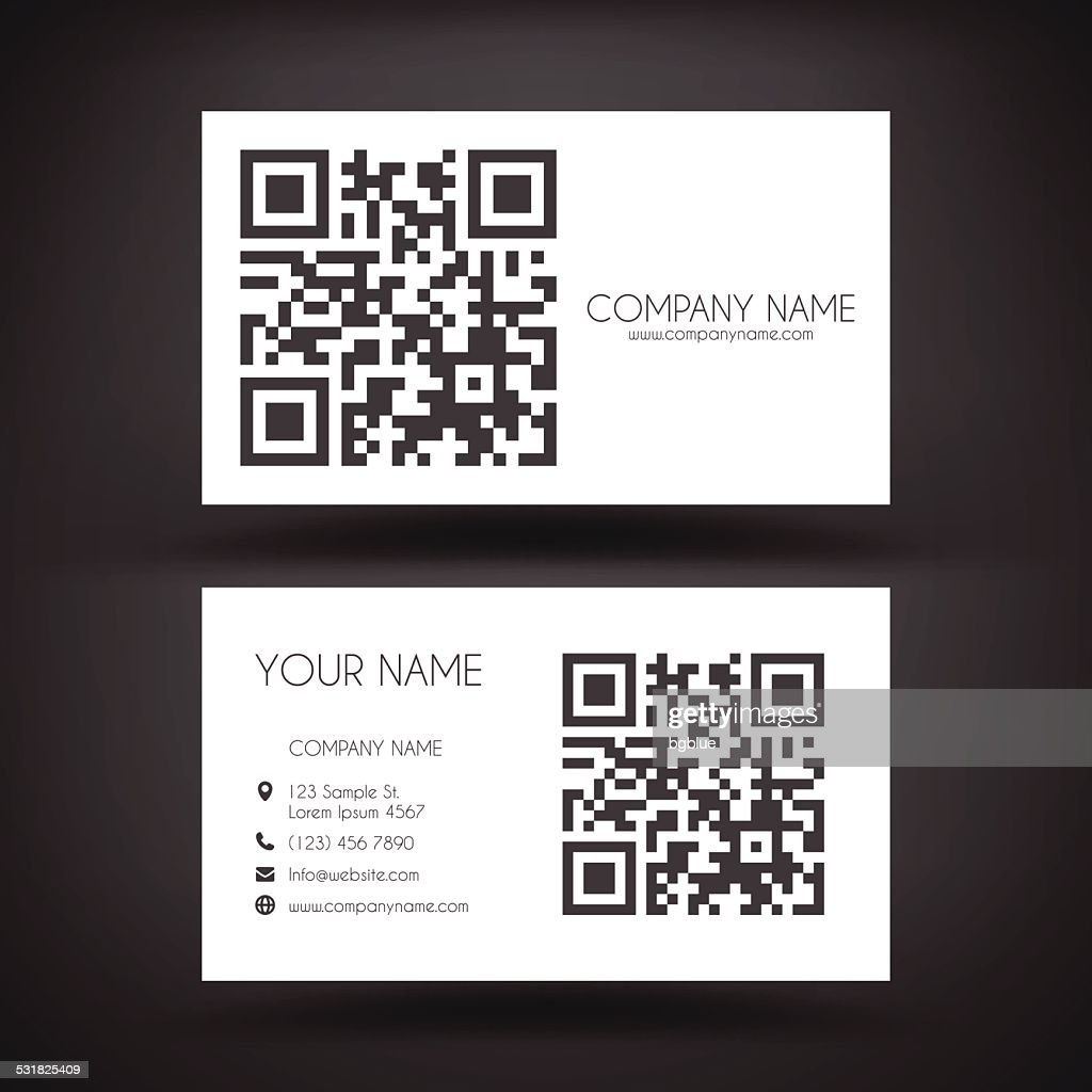 Business Card Template With Qrcode Vector Art | Getty Images