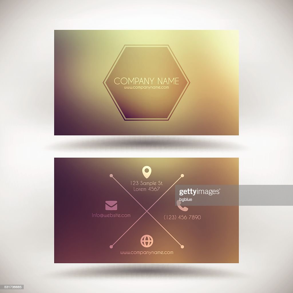 Business Card Template With Vintage Blurred Background Vector Art