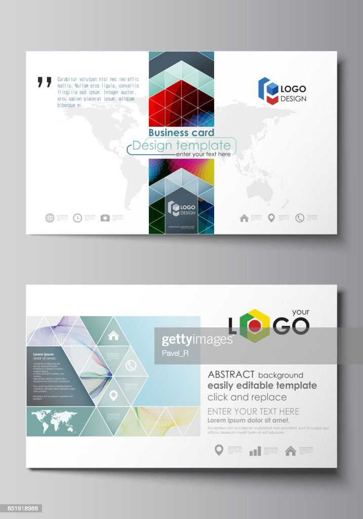 Business card templates easy editable layout flat style template business card templates easy editable layout flat style template vector illustration colorful design with overlapping geometric shapes and waves forming fbccfo Choice Image