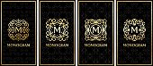 business card templates with gold monogram on black background