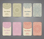Business card. Vintage geometric decorative elements. Hand drawn background.