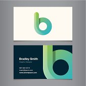 Business card with alphabet letter b