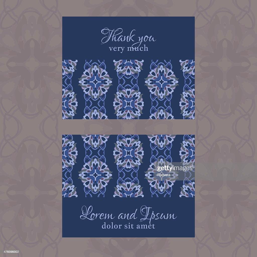 Carte De Visite Avec Motif Fleuri Gomtrique Clipart Vectoriel