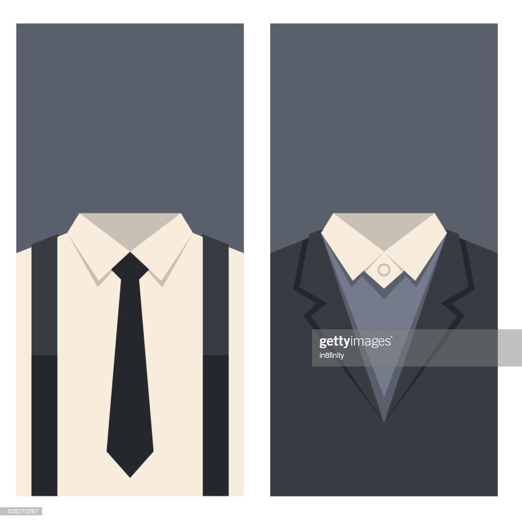 Carte De Visite Avec Costume Et Cravate Illustration Clipart Vectoriel
