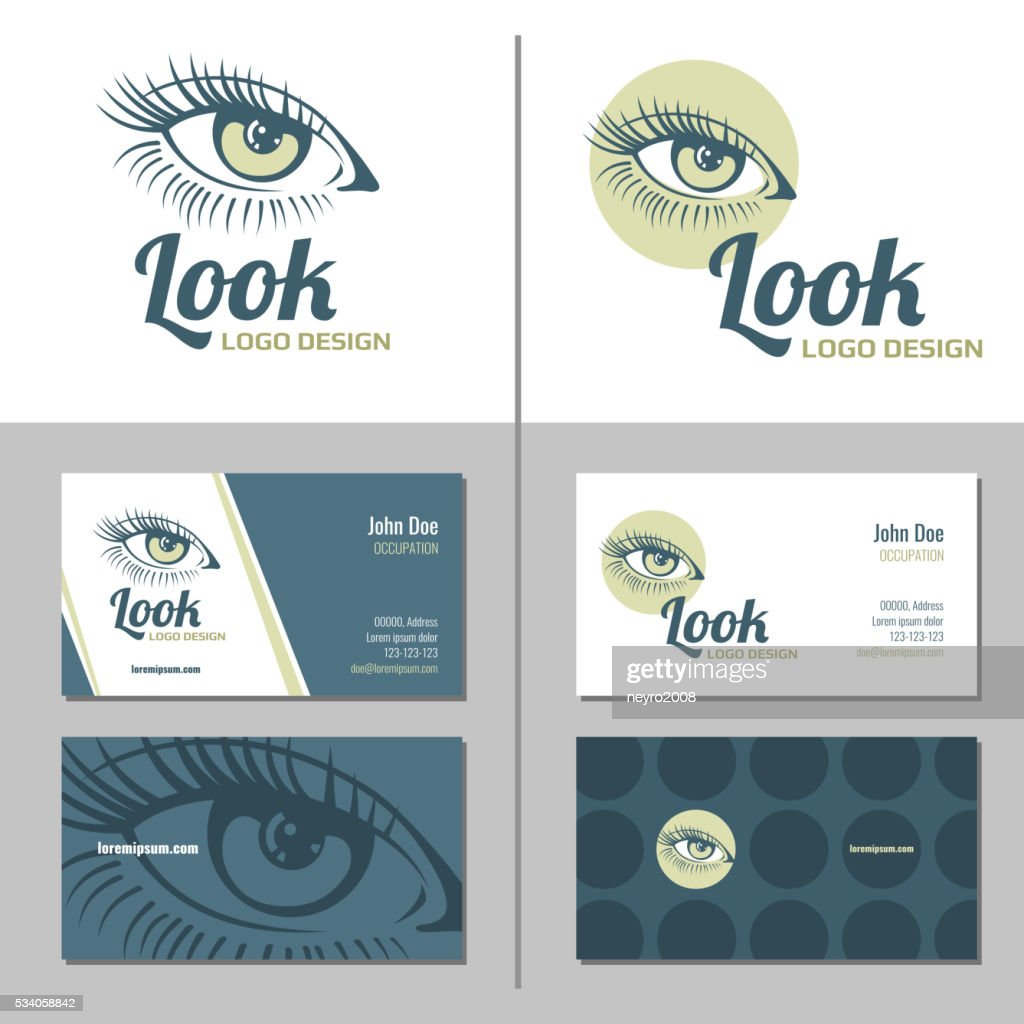 Business card with woman eye logo. Vector template