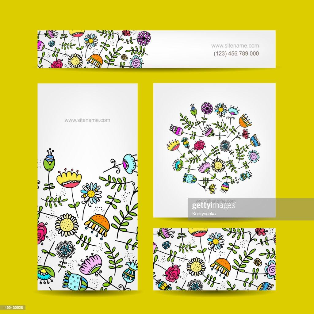 Collection De Cartes Visite Motif Floral Clipart Vectoriel