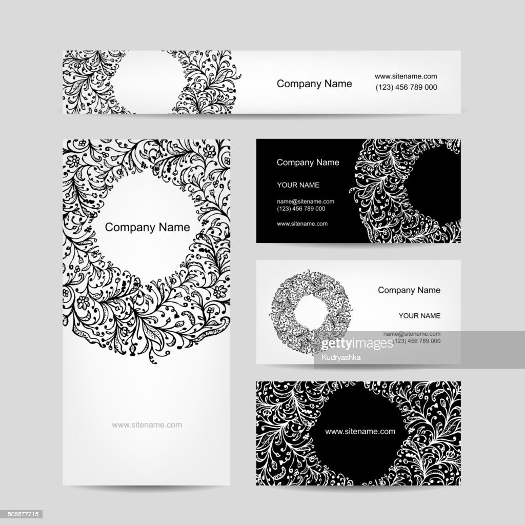 Business cards collection, floral design : Vectorkunst