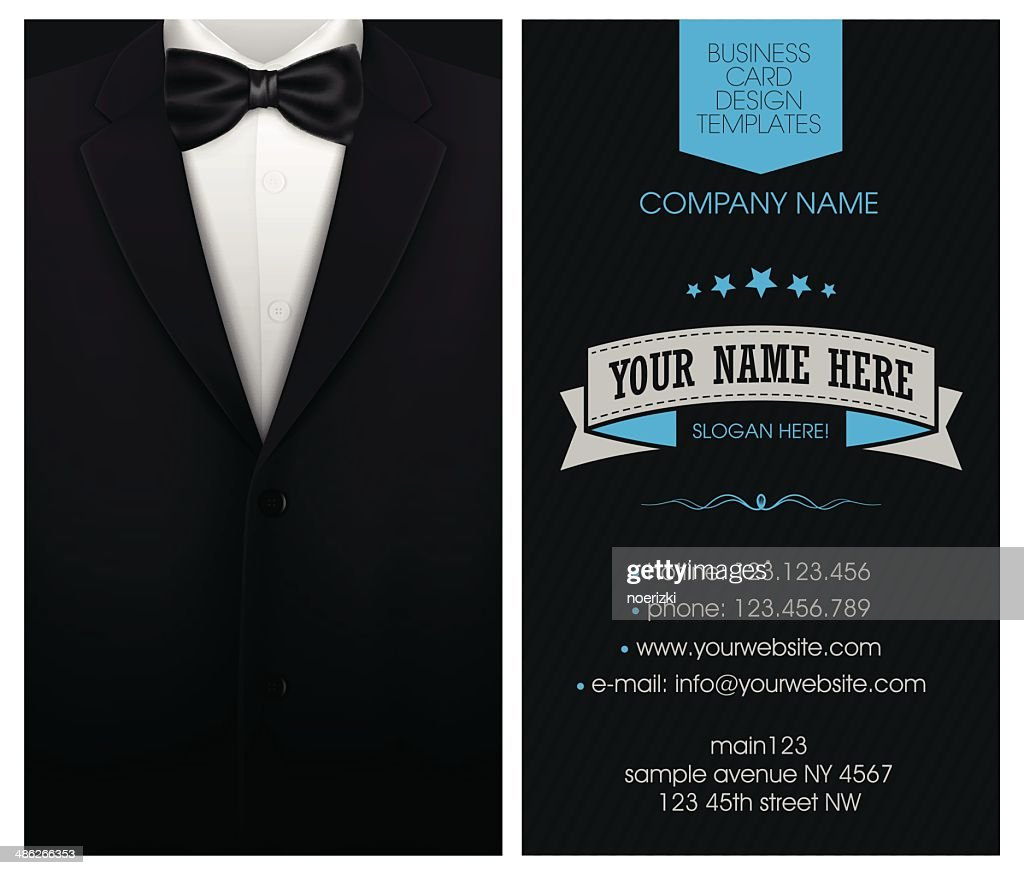 Business cards template with tuxedo design