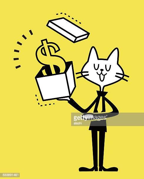 猫を示すビジネスのギフトボックスとお金