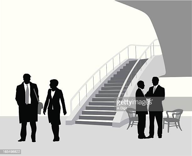 business center vector silhouette - full suit stock illustrations