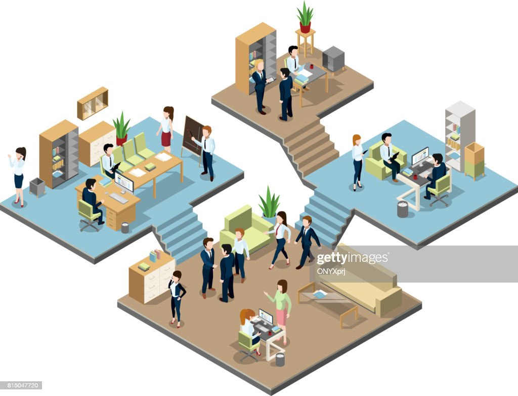 Business center with people at work in offices. Vector isometric illustrations