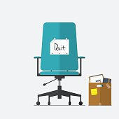 Business chair with quit message from employee or boss.