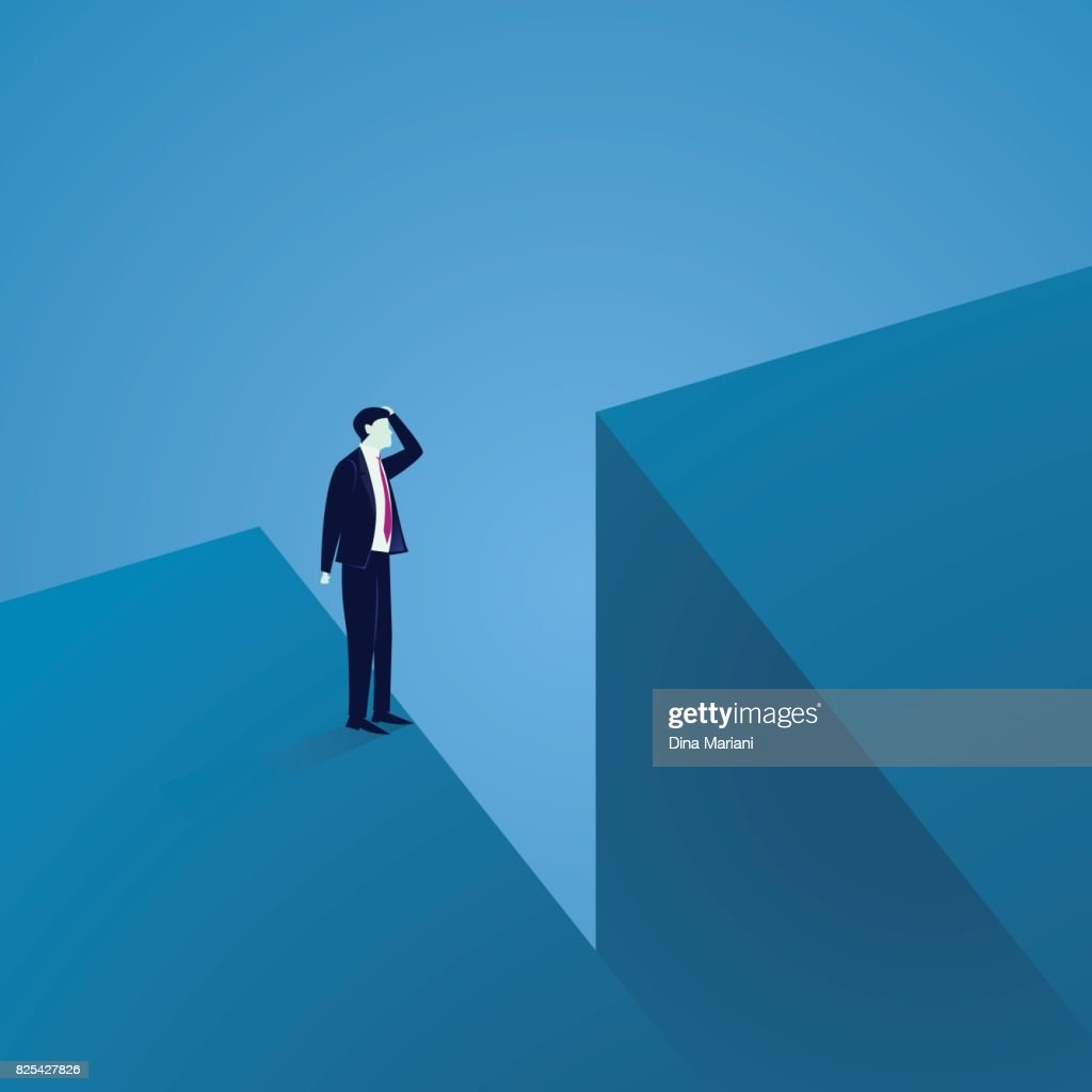 Business Challenge Concept. Businessman Confuse at The Edge of a Gap