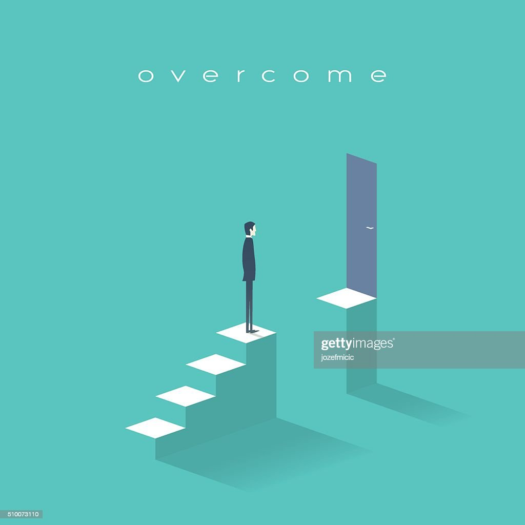 Business challenge concept with man standing on stairs. Goal or