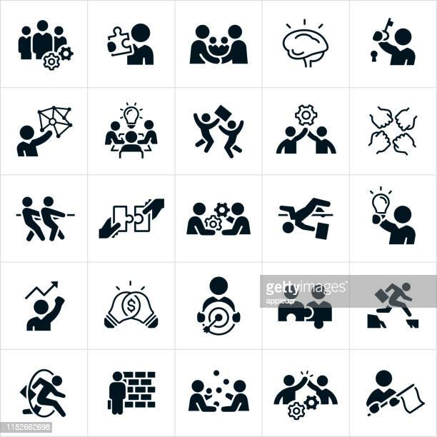 business challenge solutions icons - high jump stock illustrations