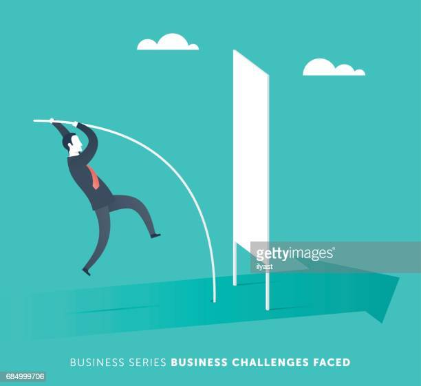 business challenges faced - pole vault stock illustrations