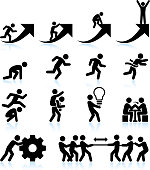 Business challenges Teamwork and achievement black & white icon set