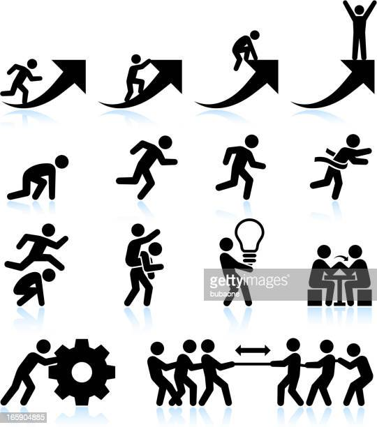business challenges teamwork and achievement black & white icon set - hurdle stock illustrations