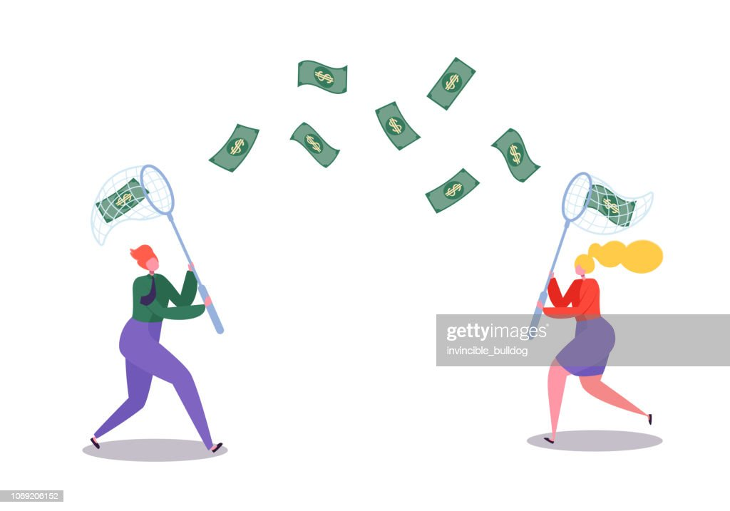 Business Characters Catching Flying Money with a Butterfly Net. Financial Success, Business Opportunity, Wealth Concept. Vector illustration : stock illustration