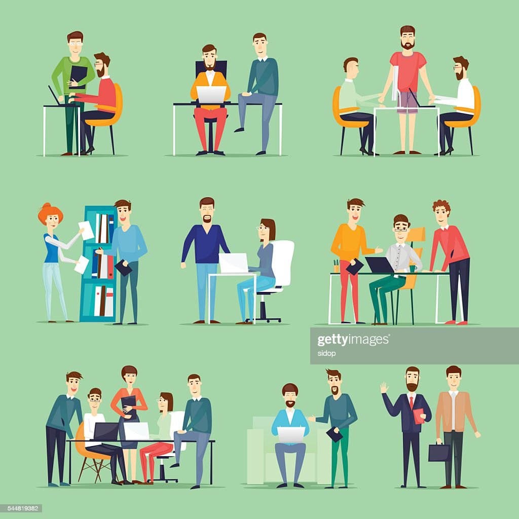 Business characters. Co working people, meeting, teamwork, collaboration and discussion
