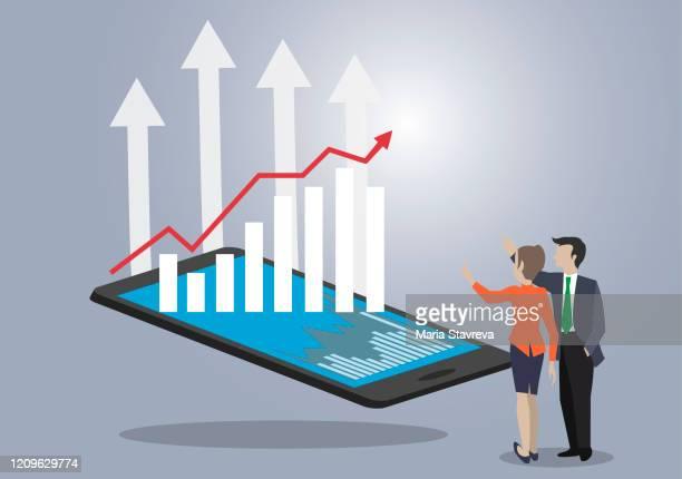illustrazioni stock, clip art, cartoni animati e icone di tendenza di business charts. concept growth planning on business. - diagramma grafico
