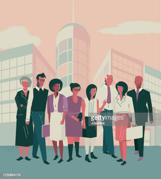 business city scene - diverse business people in a crowd - multiculturalism stock illustrations