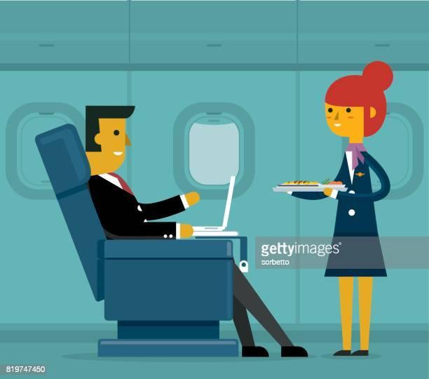 business class - businessman - business travel stock illustrations